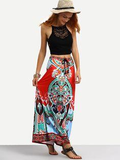 Törzsi nyaklánc kötött derék Maxi szoknya Maxi Skirts For Women, White Maxi Skirts, Printed Maxi Skirts, Long Maxi Skirts, Boho Skirts, A Line Skirts, Bohemian Skirt, Short Skirts, Pleated Skirt
