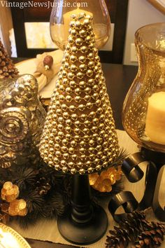 easy peasy diy christmas tree with gold beads, christmas decorations, crafts, seasonal holiday decor, 5 Minutes DIY Christmas Tree Tabletop Christmas Tree, Gold Christmas Decorations, Rustic Christmas, Elegant Christmas, All Things Christmas, Christmas Holidays, Christmas Trees, Xmas Tree, Decor Crafts