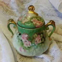 Beautiful Antique Sugar Bowl with Lid and Gold by BabyBAntiques