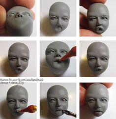 How to sculpt the face of polymer clay. Page 1 How to sculpt the face of polymer clay. Page 1 Sculptures Céramiques, Polymer Clay Sculptures, Polymer Clay Dolls, Polymer Clay Crafts, Sculpture Clay, Sculpting Tutorials, Clay Tutorials, Sculpture Techniques, Clay Faces