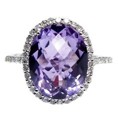Purple Amethyst Diamond Cocktail Ring | From a unique collection of vintage cocktail rings at https://www.1stdibs.com/jewelry/rings/cocktail-rings/