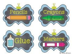 {Free} School Supply Labels Source by tipsfromamom Preschool Labels, Classroom Labels, Classroom Organisation, School Organization, School Classroom, Classroom Themes, Preschool Activities, Classroom Management, 1st Day Of School