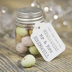 Wedding favors you can eat are perfect because they offer a homemade, personal touch and no one is going to say no to a tasty treat making it a gift everyone will love. Bonus points if you include a sappy, romantic pun with your favor!