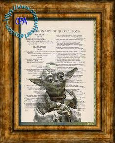 Jedi Knight Yoda Color Painting Art - Beautifully Upcycled Vintage Dictionary Page Book Art Print by CocoPuffsArt on Etsy