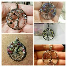 """Customizable """"Tree of Life"""" pendants. Make a """"Family Tree"""" using birthstones for a special someone as a gift.   I can also make these in silver tone or gunmetal.   Use one color stone, multiple colors and types or no stones at all."""
