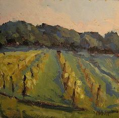 Heidi Malott Original Paintings: Vineyard Landscape 8x8 Daily Oil Painting Heidi Ma...
