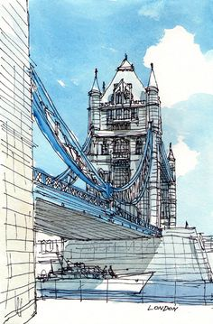 London Tower Bridge South Side art print from an original watercolor painting Urban Sketches London Architecture Sketchbook, Concept Architecture, Art Sketchbook, Landscape Architecture, Watercolor Sketch, Watercolor Paintings, Painting Art, Watercolor City, Tower Bridge London