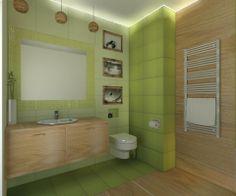 Zielona łazienka z elementami drewna