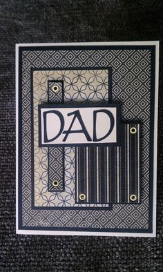 #cardsformen #Fathers Day Black and Cream Card by Kimholmes on Etsy, $5.00. nice layout and colors. For My handmade greeting cards visit me at My Personal blog: http://stampingwithbibiana.blogspot.com/