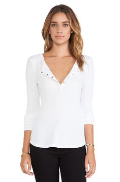 Splendid Thermal Long Sleeve Henley in White | REVOLVE