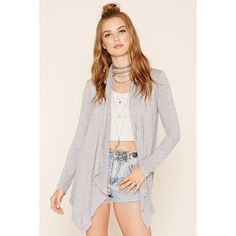 Draped Open-Front Cardigan ($8.90) ❤ liked on Polyvore featuring tops, cardigans, knit cardigan, pink cardigan, lightweight cardigan, open drape cardigan and long sleeve open cardigan