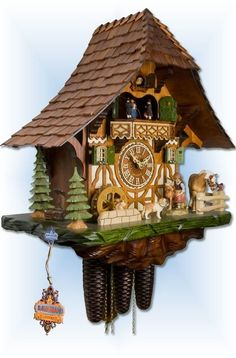 Unusual Clocks, Cool Clocks, Cuckoo Clocks For Sale, Forest Falls, Chalet Style, Clock Ideas, Horse Farms, Black Forest, Woodworking
