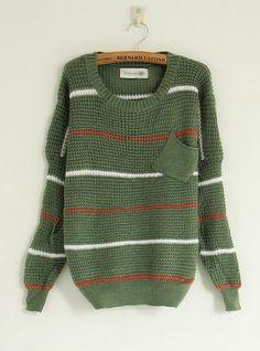 Striped Round Neck Green Sweater$39.00
