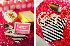 Ladies First, Reign Magazine - Glamping movie night with Legally Blonde themed candy bar and pink sequin tablescape