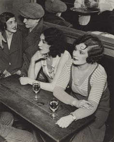 Paris Jazz Age! 20s 30s vintage style fashion found photo women cafe bar dress shirt top jumper sweater knit