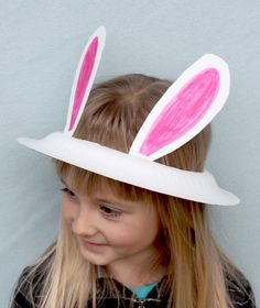 Easter bunny ears out of paper plates. This site has other cool paper plate hat ideas too!