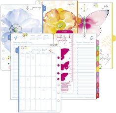 2-Page-Per-Day Planner Refill, Desk Size Planner Book, Monthly Planner, Refillable Planner, Colorful Artwork, Day Planners, Life Organization, Getting Organized, Calendar, Paper