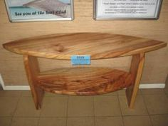 Surfboard hall table. Illusive Wood Designs