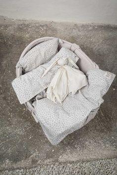 Byheritage- bedset for basket, grey alloverprint