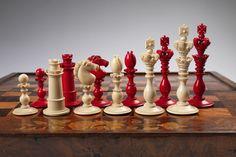 Calvert Ivory Decorative Chess Set, c 1825-1850  English Walnut Board-Box, c 1850-1875 Pieces: England; Ivory King: 4 3/4 in. Board-Box: England; Walnut Board: 19 3/4 x 17 3/4 in.