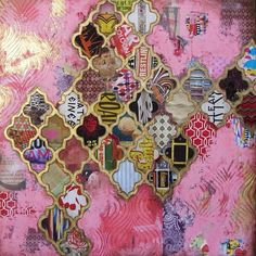 Pink and gold mixed media painting