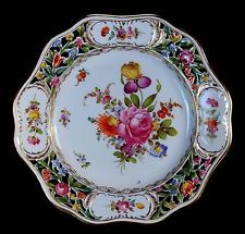 RARE & GORGEOUS ANTIQUE RETICULATED CARL THIEME DRESDEN HAND PAINTED PLATE!
