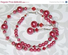 CIJ SALE Red Pearl and Crystal Necklace and by CJKingOriginals, $30.60