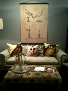 decorating with chart art and  owl pillows!