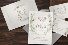 Watercolor Flower Wedding Invitation @graphicsmag