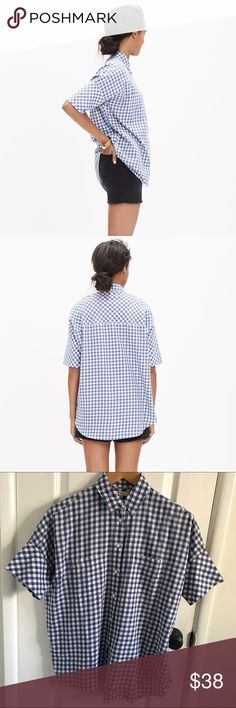 Madewell courier gingham shirt blue M Madewell courier shirt size medium blue Madewell Tops Button Down Shirts