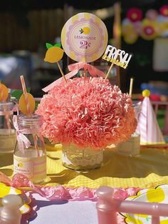 Pink Lemonade Party: Emerson is Special Birthday, Girl Birthday, Birthday Cake, Birthday Parties, Birthday Party Centerpieces, Party Favors, Pink Lemonade Party, Drinking Jars, Pink Carnations