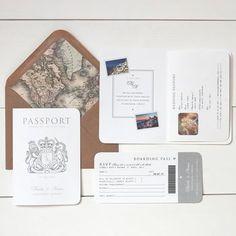 'Around The World' Passport Booklet Wedding Invitation