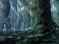 Cedar Forest | Ghibli Wiki | Fandom Mononoke Forest, Cedar Forest, Bilal, Conifer Trees, Japanese Names, Princess Mononoke, Fantasy Landscape, Anime Scenery, Studio Ghibli