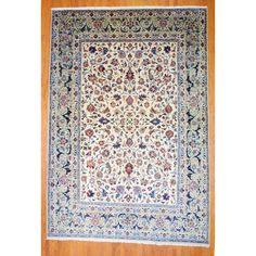 Persian Hand-knotted Isfahan Ivory/ Light Green Wool Rug (9'6 x 14') | Overstock.com