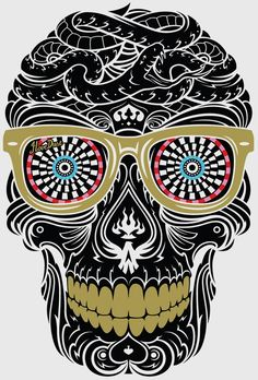 Intense sugar skull design. throws a lot of different patterns at you but from farther away, they don't seem as noticeable. It blends together and makes the shape of the skull.