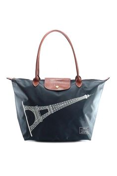 0a8435f169726 Medium Long Handle Eiffel Tower Le Pliage Bag (Graphite) from Longchamp  Classic Totes