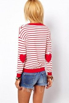 Red White Stripe Heart Embroidery Sweater