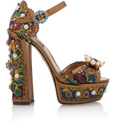 Dolce & Gabbana Jewel-embellished Metallic Leather Platform Sandals In Multi Pretty Shoes, Cute Shoes, Me Too Shoes, Giuseppe Zanotti Heels, Metal Fashion, Fashion Heels, Crazy Shoes, Platform Pumps, Metallic Leather