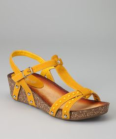 Take a look at this Mustard Danica-03 Wedge Sandal by Refresh on #zulily today!