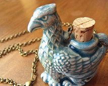 Griffin Necklace Gargoyle Necklace Blue Raku Necklace Small Bottle Necklace Miniature Ceramic Urn Necklace Holds Essential Oils