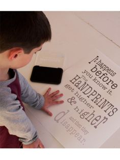 Handprints Poster - capture their handprints and be reminded with this keepsake that time with your children goes by quickly.  Enjoy the moments and remember their milestones. Barn Owl Primitives