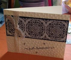Stampin Up Typeset Speciality DSP border simple card is in vanilla and black ...