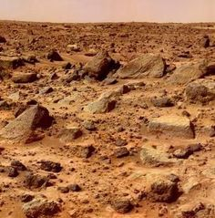 The surface of the planet Mars.