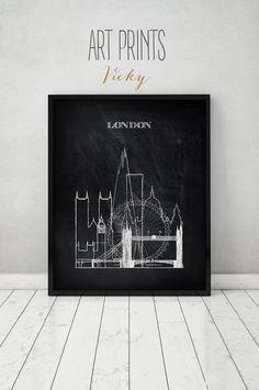London print Poster Wall art England cityscape by ArtPrintsVicky