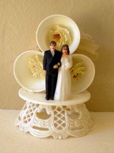 Vintage Wedding Cake Top Bride & Groom With Bells from californiagirls on Ruby Lane