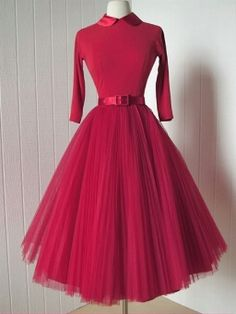 Pompon Day Vintage Lapel Half Sleeve Tulle Tutu Slim Dress
