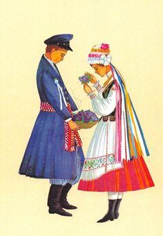 Traditional flower crowns from Poland. Region of Piotrków. Postcard with illustration by Irena Czarnecka.