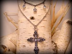 Silver Cross Necklace with Silver and by SistersJewelryStudio, $30.00