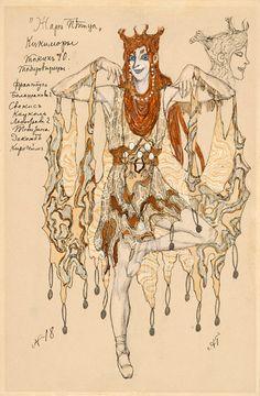 Alexandre Golovine (1863-1930). L'Oiseau de Feu, Costume design for the Swampwench Kikamora, undated. Watercolor and ink. b *2004MT-73. Bequest of the Bayard Kilgour Estate, 2001.