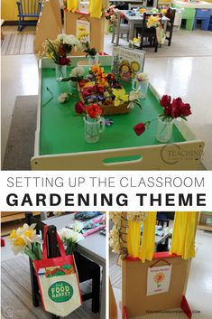 This week our toddler and preschool classroom is set up for the gardening theme. We will have lots of hands-on, playful learning activities that relate to nature and gardening, including a flower market! #preschool #toddlers #classroom #themes #gardening #flowers #teachers #earlychildhood #planting #gardenignwithkids #printable #AGE2 #AGE3 #teaching2and3yearolds.com